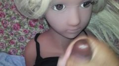Part 2 Mini Sex Doll Get's Facial By Huge Black Tool